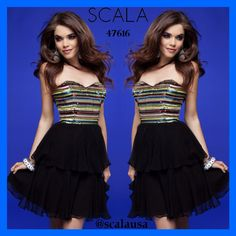 Get your PARTY DRESS on!!! Style 47616 Black Multi! www.scalausa.com