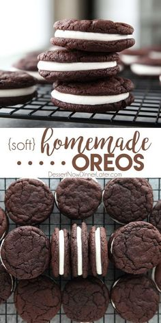 These easy Homemade Oreos are made completely from scratch. Soft, fudgy chocolate cookies are stuffed with a simple, vanilla cream filling. (Cream Cheese Frosting recipe also available for filling.) cookies Homemade Oreos - Dessert Now, Dinner Later! Keks Dessert, Dessert Oreo, Smores Dessert, Oreo Desserts, Dessert Dips, Dessert Party, Mini Desserts, Easy Desserts, Simple Dessert Recipes