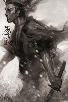 Samurai water color