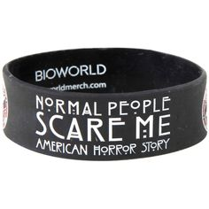 Hot Topic American Horror Story Normal People Rubber Bracelet (85 ARS) ❤ liked on Polyvore featuring jewelry, bracelets, black, rubber bangles, american jewelry and rubber jewelry