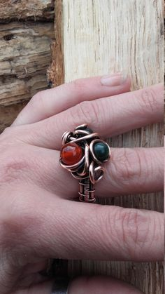 Wire wrapped copper ring with natural gemstones beads,Wire ring,Wire wrapped ring,Wire jewelry,Copper ring,Wire wrapped jewelry,Gemstones by Tangledworld on Etsy