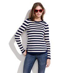 Bateau Button Sweater in Stripe - sweaters - Madewell