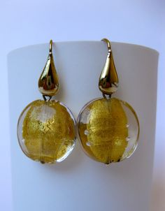 Venetian Glass Hand Made Gold Foil Large Beads Dangling Earrings 24KT Gold Plated Sterling Silver Drop Hooks Unique Christmas Gift For Her by MillineryJewellery on Etsy SOLD