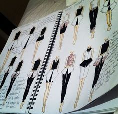 Fashion Illustration Lovely page in a Fashion Sketchbook. I should set up my fashion sketches like this. Textiles Sketchbook, Fashion Design Sketchbook, Fashion Design Portfolio, Arte Sketchbook, Illustration Mode, Fashion Illustration Sketches, Fashion Sketches, Drawing Fashion, Design Illustrations