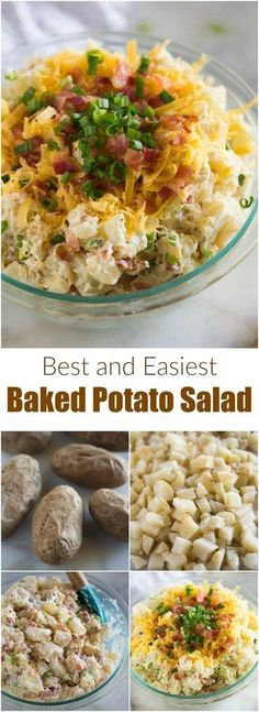 This easy Baked Potato Salad is a guaranteed pot-luck FAVORITE! It's a fun change from a regular potato salad, and instead includes the toppings and flavors you love from a loaded baked potato, including bacon, onions, sour cream and cheese. #potatosalad #sides #foracrowd #loaded #recipe #easy #best #bacon #cheese #baked #sourcream via @betrfromscratch