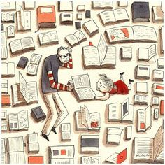 Reading / illustration by Karina Cocq I Love Books, Books To Read, My Books, Reading Art, I Love Reading, Reading Library, Girl Reading, E Reader, World Of Books