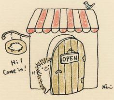 Just adorable ! Little shopkeeper! Cute hedgehog artwork series by Nami Nishikawa