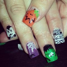 Classic Halloween Friends by crystal_marie - Nail Art Gallery nailartgallery.nailsmag.com by Nails Magazine www.nailsmag.com #nailart