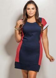 Vestido Curto Plus Size (Azul, Vermelho e Branco)