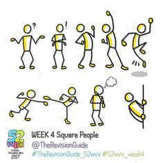 Week 4 of the 52 week visual vocabulary challenge for 2017 is here! 🎉🎉🎉🎉 It's all about square people. Add bubbles (speech/thought),… Visual Thinking, Design Thinking, Stick Figure Drawing, Figure Drawings, Visual Note Taking, Doodle People, Note Doodles, Doodle Lettering, Sketch Notes