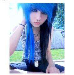 blue and black layered, scene hair