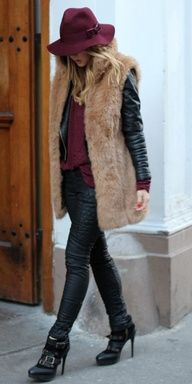 FALL HAT...burgundy hat + faux fur vest + leather jacket. winter chic style
