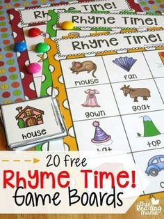 Fun rhyming activity for preschool or early FREE Rhyme Time Game Boards. Fun rhyming activity for preschool or early kindergarten! Kindergarten Centers, Kindergarten Classroom, Kindergarten Reading Activities, Rhyming Words For Kindergarten, Rhyming Preschool, Phonemic Awareness Kindergarten, Phonics For Preschool, Preschool Language Activities, Nursery Rhymes Kindergarten