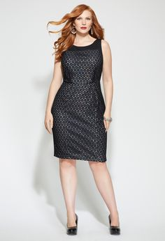 Plus Size Lace Overlay Sequin Sheath Dress | Plus Size Perfect Black Dresses | Avenue