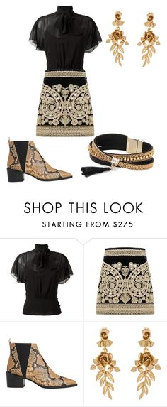"""""""Black & Gold"""" by adellolita on Polyvore featuring RED Valentino, For Love & Lemons, Whistles, Oscar de la Renta and Simons"""