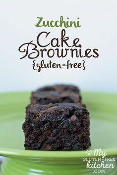 Double Chocolate Zucchini Cake Brownies {Gluten-free, Dairy-free, Egg-free} #glutenfree #zucchini