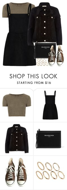 """Sem título #201"" by free22 ❤ liked on Polyvore featuring Topshop, River Island, Balenciaga, Converse and Pieces"