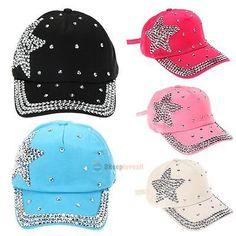 31cd40043c3 Ladies Rhinestone Crystal Star Studded Snapback Cap Sparkle Baseball Bling  Hat