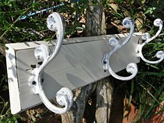 Coat Rack / Cast Iron 3 Large Hook Wall Fixture / Painted in Shabby Chic White $34.99