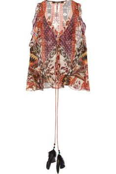 Roberto Cavalli - Ruffled Printed Silk-blend Chiffon Top - Brown - IT44