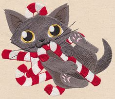 Feline Festive - Candy Cane Kitty - Thread List | Urban Threads: Unique and Awesome Embroidery Designs