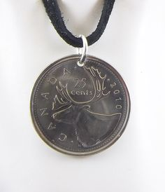 2010 Canadian Coin Necklace 25 Cents Caribou by AutumnWindsJewelry