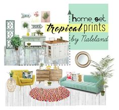 """Tropical prints contest"" by naleland on Polyvore featuring interior, interiors, interior design, dom, home decor, interior decorating, WallPops, NLXL, Pottery Barn i Serena & Lily"