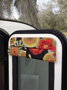 Insulating Camper Door Shade to view 12 fabrics Van Curtains, Camper Curtains, Beaded Curtains, Door Window Covering, Window Coverings, Junk Gypsies Decor, Camper Windows, Door Shades, Boho Glam Home