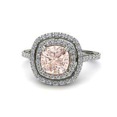 Cushion Double Halo Morganite Engagement Ring Diamond by RareEarth, $1445.00