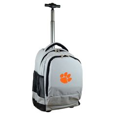 NCAA Clemson Tigers Grey Premium Wheeled Backpack