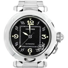 Pre-owned Cartier Pasha 2324 Date Black Dial 100M Stainless Steel... ($2,395) ❤ liked on Polyvore featuring jewelry, watches, black stainless steel bracelet, bezel watches, cartier bracelet, stainless steel watches and pre owned watches