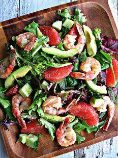 Grapefruit & Avocado Salad with Shrimp    http://www.sweetsugarbean.com/2012/01/lighten-up-grapefruit-avocado-salad.html
