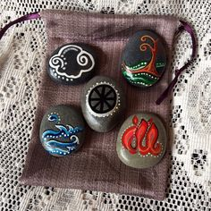 Sea Stone ELEMENTAL SET & Pouch. Element Pagan Altar Stones. I've been trying to find some flat stones like these for doing some of my Pagan Crafts.  These are great.