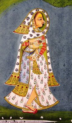 A bejewelled nayika holding pan and wearing dupatta of peacock feathers design…
