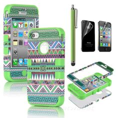 Stylus for iPhone 4 4S 3 Piece Hybrid High Impact Case Tribal Green Silicone | eBay