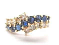 Estate Vintage 0.80CT Fine Round Blue Sapphire & Diamond Ring 14K Yellow Gold #Handmade #Bypass