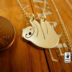 Happy Sloth Sterling Silver .925 Necklace by StefanoArt on Etsy