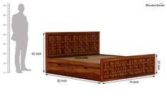 Buy Howler Bed With Side Storage (King Size, Honey Finish) Online in India - Wooden Street Wooden Street, Wooden Bed Frames, Beds Online, Bed Storage, Cot, Sofa Design, King Size, Character Design, Honey