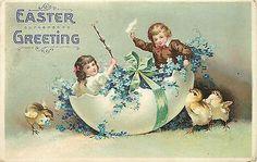 Ellen H Clapsaddle~Fantasy~Victorian Boy Girl in Easter Egg Shell~Flowers~Chicks