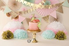 Pink and gold smash cake, by MadHouse Bakes