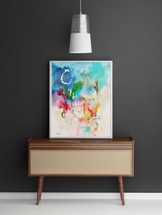 Abstract painting, acrylic painting, wall decor, home decor, wall art, abstract art, colorful painting, modern art, paper painting A3 de VictoriAtelier en Etsy
