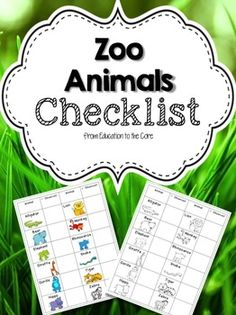 Zoo Animals FREE Science, Spring, Tools for Common Core Kindergarten, 1st, 2nd, 3rd Projects, Activities, Printables..A Zoo themed checklist to create great wonderful learning artifacts and memories! Pictures will help students remember zoo vocabulary and animal names when they are at the zoo! Included in this freebie checklist are the following Zoo Animals: