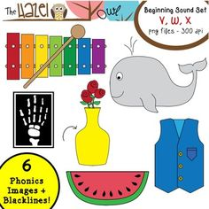 Beginning Sound / Alphabet Phonics Clip Art!  V, W, X Set!  $