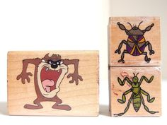 Tasmanian Devil and Bugs Rubber Stamps, Set of 3