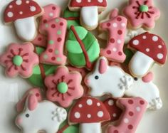 "Woodland birthday mini sugar cookies or large 3.5"" with royal icing mushroom, flowers leaves, bunny, rubbit,one,digit"