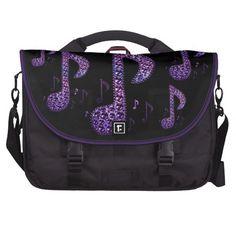 Black and Purple Sparkle Music Notes Laptop Bag