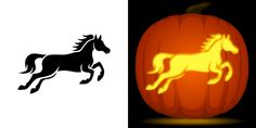 Horse pumpkin carving stencil. Free PDF pattern to download and print at http://pumpkinstencils.org/download/horse-pumpkin-stencil/