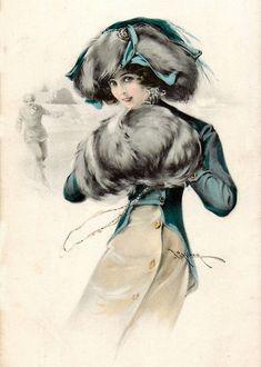Ретро коллекция (1900-1930)...Дамское в шляпе