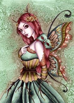 Gothic Fairy Fantasy ACEO PRINT Art Absinthe Green wc