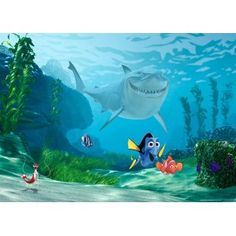 Némó nyomában faltapéta x 115 cm) Baby Room Wall Decor, Nursery Wall Murals, Nursery Wallpaper, Paper Wallpaper, Photo Wallpaper, Disney Pixar, Disney Fun, Disney Animation, Kids Church Rooms